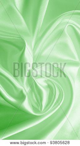 Smooth Elegant Green Silk Or Satin As Background