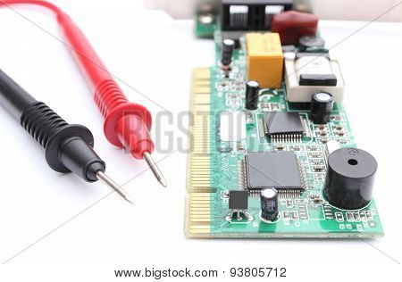 Cable Multimeter With Circuit Board Isolated On White Background