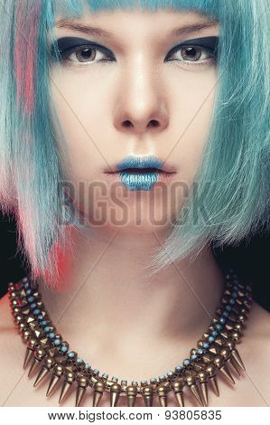 Girl With Blue Hair And Fashion Art Make Up
