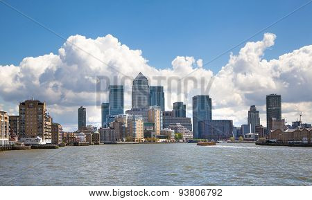 LONDON, UK - APRIL 30, 2015:  Canary Wharf business aria view from the River Thames