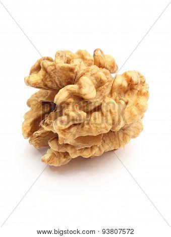 Fresh Walnut Without Shell On White Background