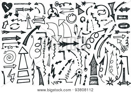 Hand draw Arrows set. Doodle vector