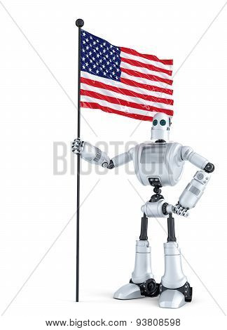 Android Robot Standing With Flag Of Usa. Isolated. Contains Clipping Path