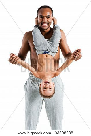 Young Joyful Father Having Fun With His Child, Family And Father's Day Concept