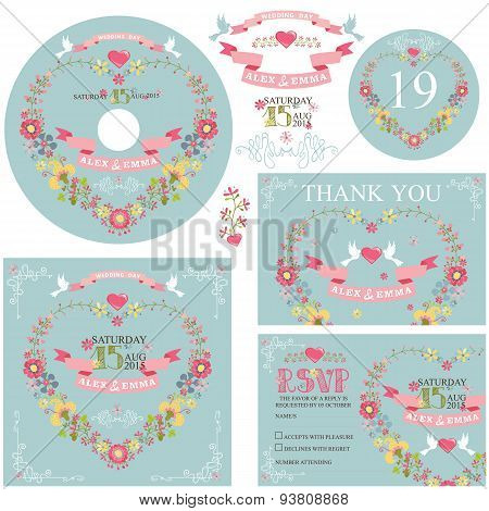 Cute wedding template set with floral wreath
