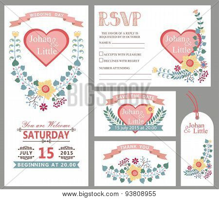 Cute wedding design template set.Floral decor