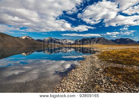 Reflection in mountain lake, Chukotka, Russia