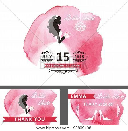 Bridal shower template set.Bride,watercolor pink stain