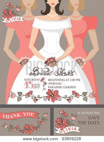 Bridal shower invitation set.Bride,bridesmaids,cute floral decor