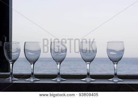 Wine Glasses And Sea
