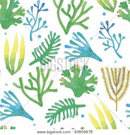 Watercolor seaweeds seamless pattern