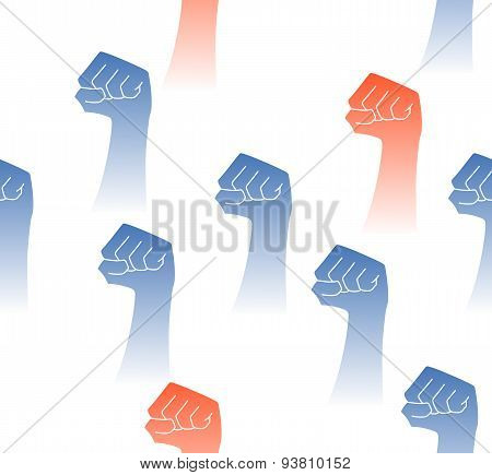 Seamless Pattern With Raised Fists