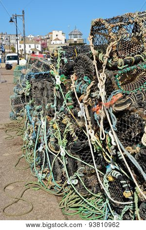 Fishing Nets And Pots At Saint Ives, Cornwall, England