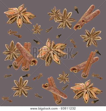 spices , cinnamon, indian, background ,anise, star , clove ,set