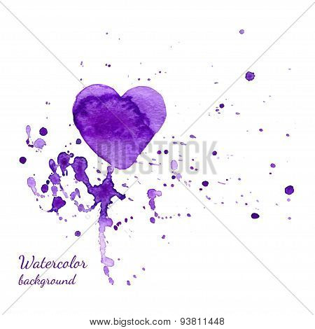Watercolor Valentines Day Heart with a hand-drawn painted violet watercolor heart with violet and pi