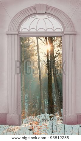 View Through Arched Door, Wintry Forest