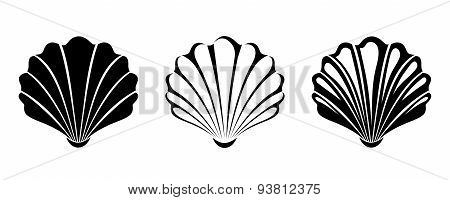 Set of sea shells. Vector black silhouettes.
