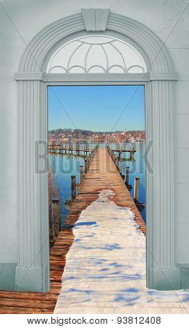View Through Arched Door, Wintry Boardwalk