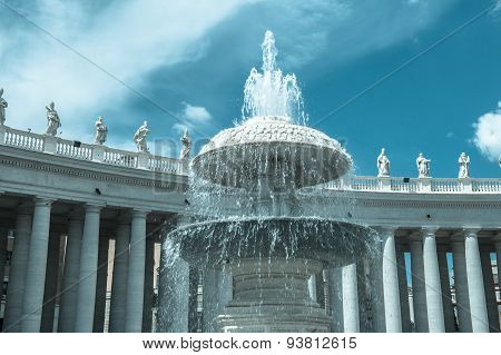 One Fountain In St Peter Square In Rome, Italy