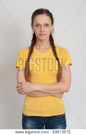 Girl With Pigtails Wearing T-shirt