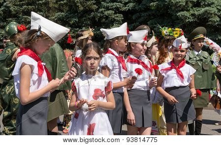 Young Girls In Traditional Russian Communist And Red Army Uniforms
