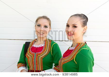 Two Young Girls In Russian National Dress