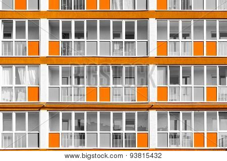 Orange Exterior Decoration Details Of Modern Flats