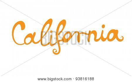 Hand-written word CALIFORNIA, lettering. Vector illustration