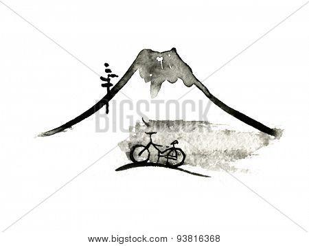 Mountain Fuji and bike, volcano, japanese art vector illustration