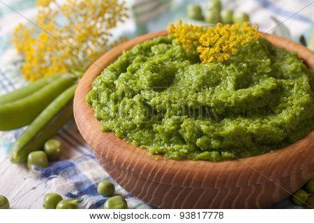 Mashed Green Peas Close Up Horizontal