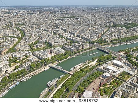 Paris Panoramic View With The Seine River, France.