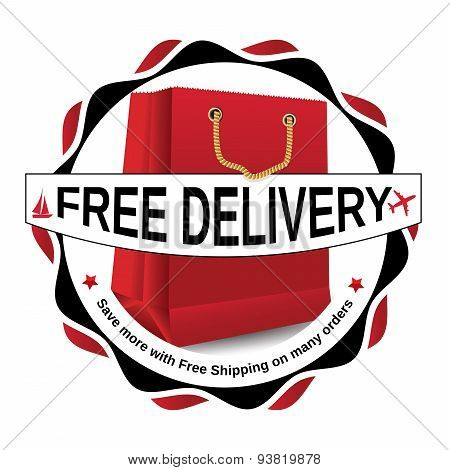 Free delivery red label / sticker