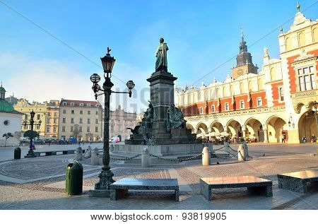 The statue of Adam Mickiewicz on the main square in Krakow.