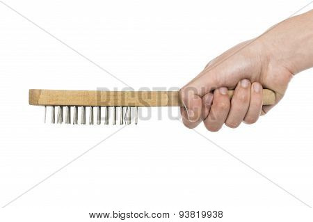 Hand With Brush Isolated