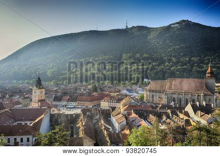Brasov, old city, the black church, and Tampa mountain. Aerial view