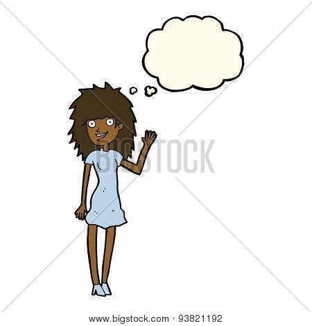 cartoon happy woman waving with thought bubble