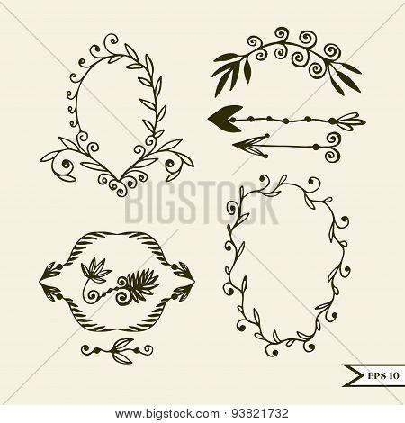 Hand drawn vector set of vintage design elements for wedding greting card poster. Vector set