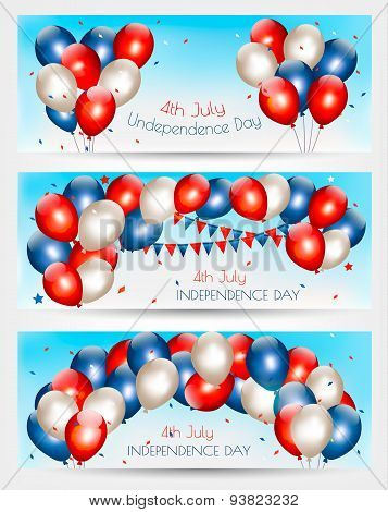 Three Independence Day Banners. Vector.