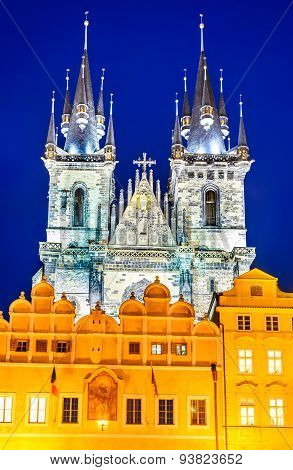 Prague Czech Republic. One of Stare Mesto symbols Church of Our Lady of Tyn with gothic facade and 80 meters towers Bohemia landmark.