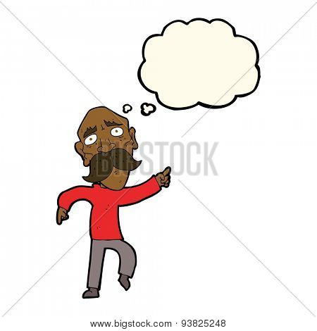 cartoon sad old man pointing with thought bubble