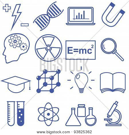 Science and Education Flat Line Icons. Vector illustration
