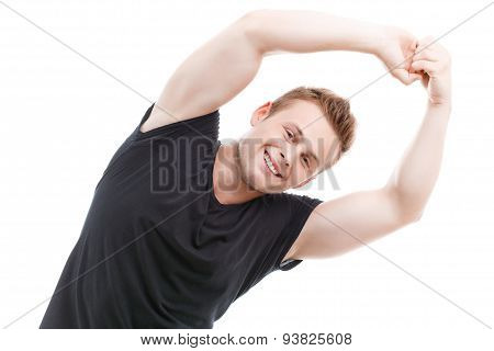 Muscled man during workout