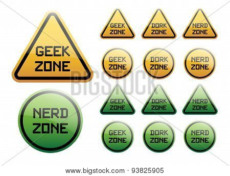 geek zone orange and green sign