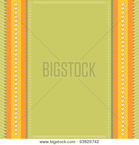 Green and orange background with hearts and stripes