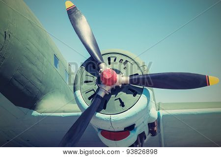 Part Plane With The Propeller In Retro Tones