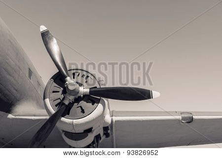 Part Plane With The Propeller In Beige Tones
