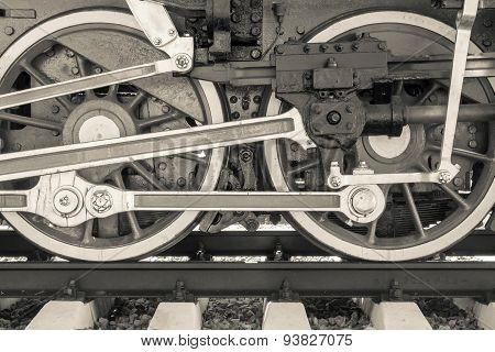 Wheels Closeup Old Locomotive Of Beige Color