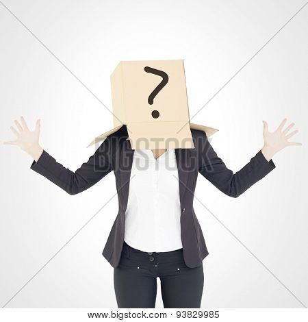 Anonymous businesswoman with her hands up against white background with vignette