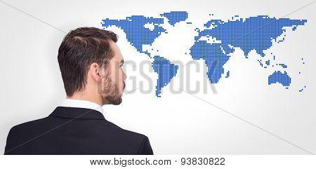 Elegant businessman in suit thinking against blue world map on white background