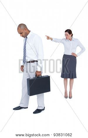 Businesswoman yelling at colleague on white background